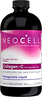 NeoCell - Collagen + C Pomegranate Liquid - Collagen Type 1 and 3 plus Antioxidants, Ionic Minerals, and Vitamin C Promotes Healthy Joint Cartilage Tissue; Non-GMO and Gluten-Free - 16 Ounces