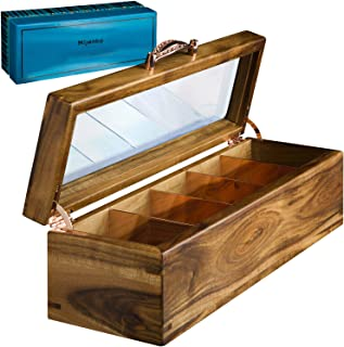 Mijenko Wooden Tea Box Organizer - Rose Gold, Luxury Tea Organizer for Tea Bags, Loose Leaf Tea Storage and Display. Tea Bag Organizer Tea Chest with Glass Lid, Soft Close Hinges, and Steel Dividers