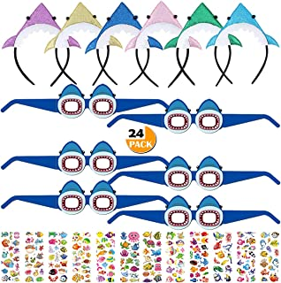 Youwith Joy 24 Pack Baby Shark Headbands Glasses Mask Party Favors, Cute Shark Themed Party Supplies for Kids Cosplay/Birthday Party Halloween Christmas Treat Bags Gift Fillers