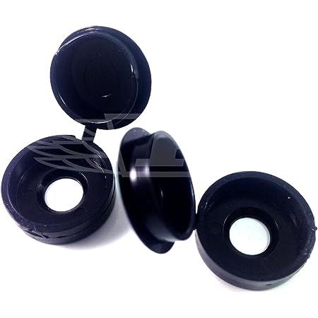 UK 10pcs Small BLACK Plastic Hinged Screw Cover Caps Home Decoration 3-4mm