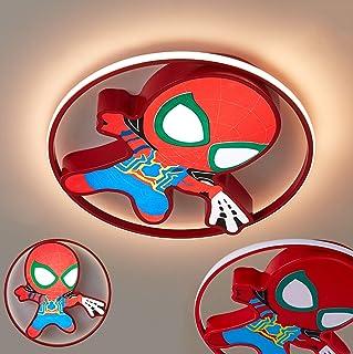 Lámpara LED habitación de niños Spider Man Lámpara de techo regulable para niños Lámpara de habitación para niños Luz de techo de acrílico redonda para dormitorio Estudio Sala de estar, 45cm, 33W