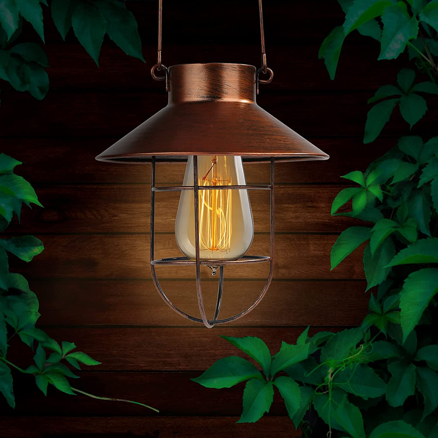 Outdoor Solar Lantern, NIOSTA Copper Waterproof Hanging Solar Lights with Shepherd Hook, and Extra 2 Free Edison Bulb and 2 Solar Panel for Garden Pathway Patio Yard Porch(2pack)
