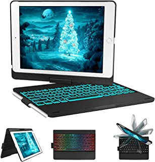 iPad Keyboard Case for iPad 6th gen - iPad 5th gen- iPad Pro 9.7- iPad Air 2- Air, 360 Degree Rotatable -Auto Sleep Wake- Wireless Bluetooth Backlit Keyboard Case with Pencil Holder (Black)