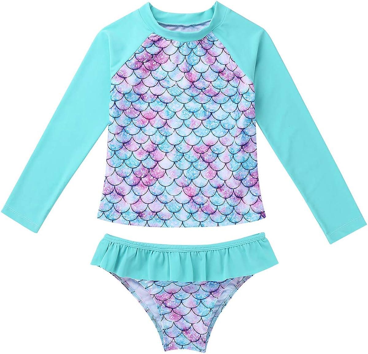 Choomomo 2PCS Kids Girls Swimsuit Set Long Sleeves Rash Guard Shirt Top Ruffles Bottom Bathing Suit