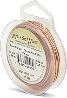 Beadalon AWS-18-BC-10YD Artistic Wire 18-Gauge Bare Copper Wire, 10-Yards
