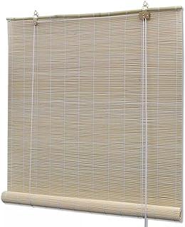 Nishore Persiana Enrollable de Bambú, Cortina de Madera, Estor Enrollable para Ventana de Vestidor, Fácil de Ajustar, Natural 100 x 160cm