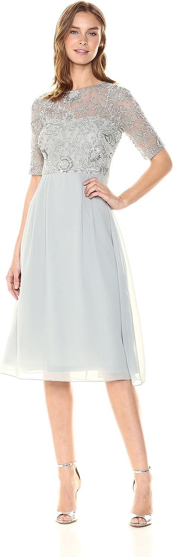 Adrianna Papell Womens Beaded Midi Dress Dress