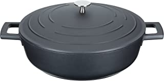 masterclass Cast Aluminium Induction-Safe Non-Stick Shallow Casserole Dish, 4 L, Black, 28 x 38 x 16 cm