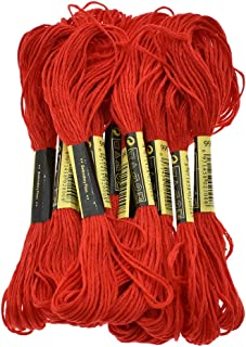 Six Strand Cross Stitch Embroidery Floss Thread 8.7 Yards - Black 12Pcs (Red)