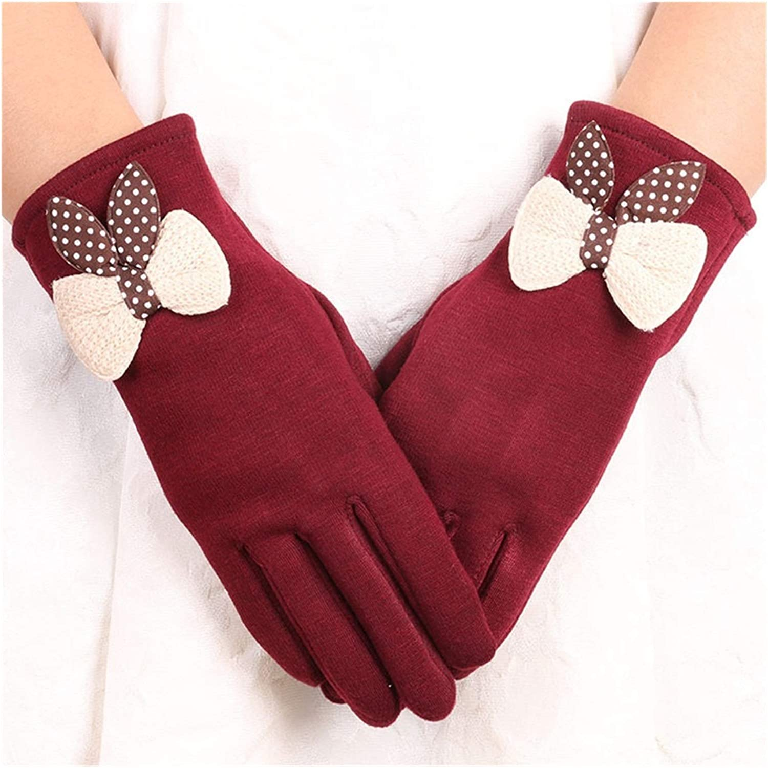 JBIVWW Ladies Winter Gloves Without Down Cashmere Touch Screen Plus Cashmere Women's Cashmere Warm Riding Gloves in Winter (Color : A142 2)
