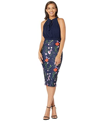 Ted Baker Shimma Halter Neck Pleated Dress (Dark Blue) Women