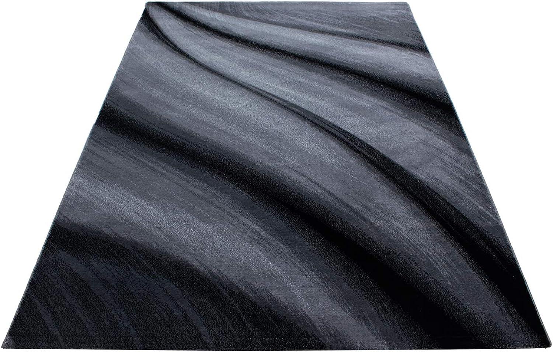 Teppiche modern Design Rechteckig Kurzflor Pflegeleicht Abstrakt Wellen Schwarz, Maße Maße Maße 160x230 cm B07H5Y7Q3T a46e8b
