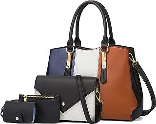 LUOWAN Handtasche Damen Gross Leder Groß Henkeltasche Umhängetasche Schultertasche Taschen Shopper 4pcs Set