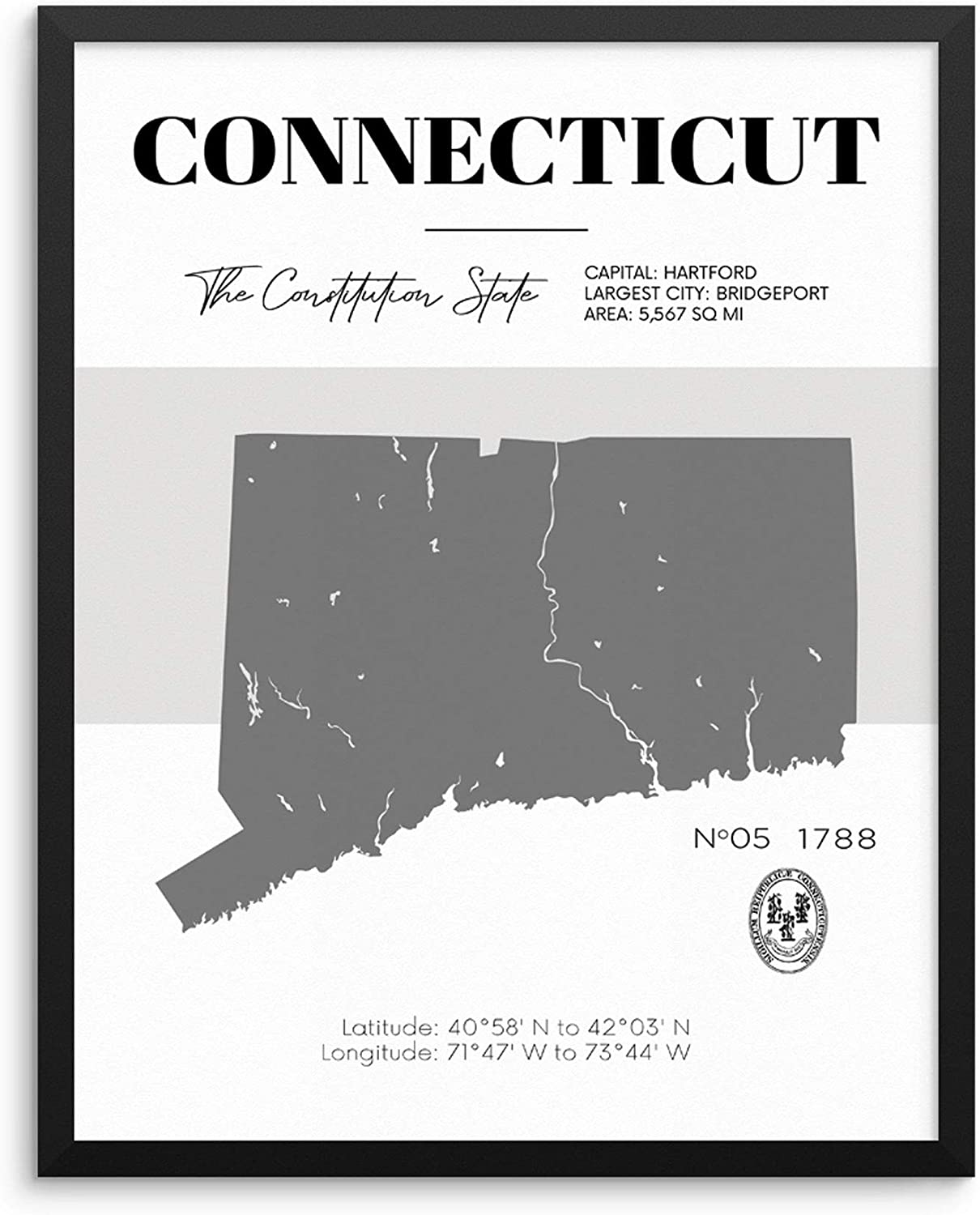 Connecticut State Map Poster With Demographics Minimalist Home Decor Travel  Art Print 20x20 UNFRAMED Trendy Artwork for Bedroom Living Room Entryway ...