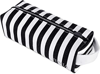 JEMIA - Black White Cute Stripe Canvas Pencil Cases with Handle, Simple One Zipper Compartment Pouch Bag to Hold Office or Cosmetic Makeup for Kid, Teen, Boy, Girl or Adult for Men, Women