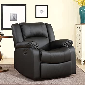 BELLEZE Faux Leather Rocker and 360 Degree Swivel Glider Recliner Overstuffed Armrest Backrest Living Room Chair (Black)