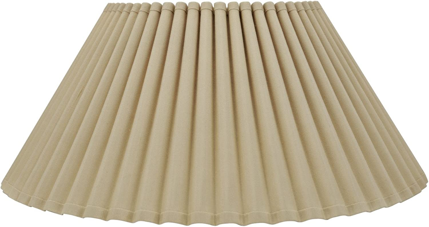 Aspen Creative 34086 Transitional Pleated Empire Shaped Spider Construction Lamp Shade in Beige, 18  Wide (9  x 18  x 8 3 4 )