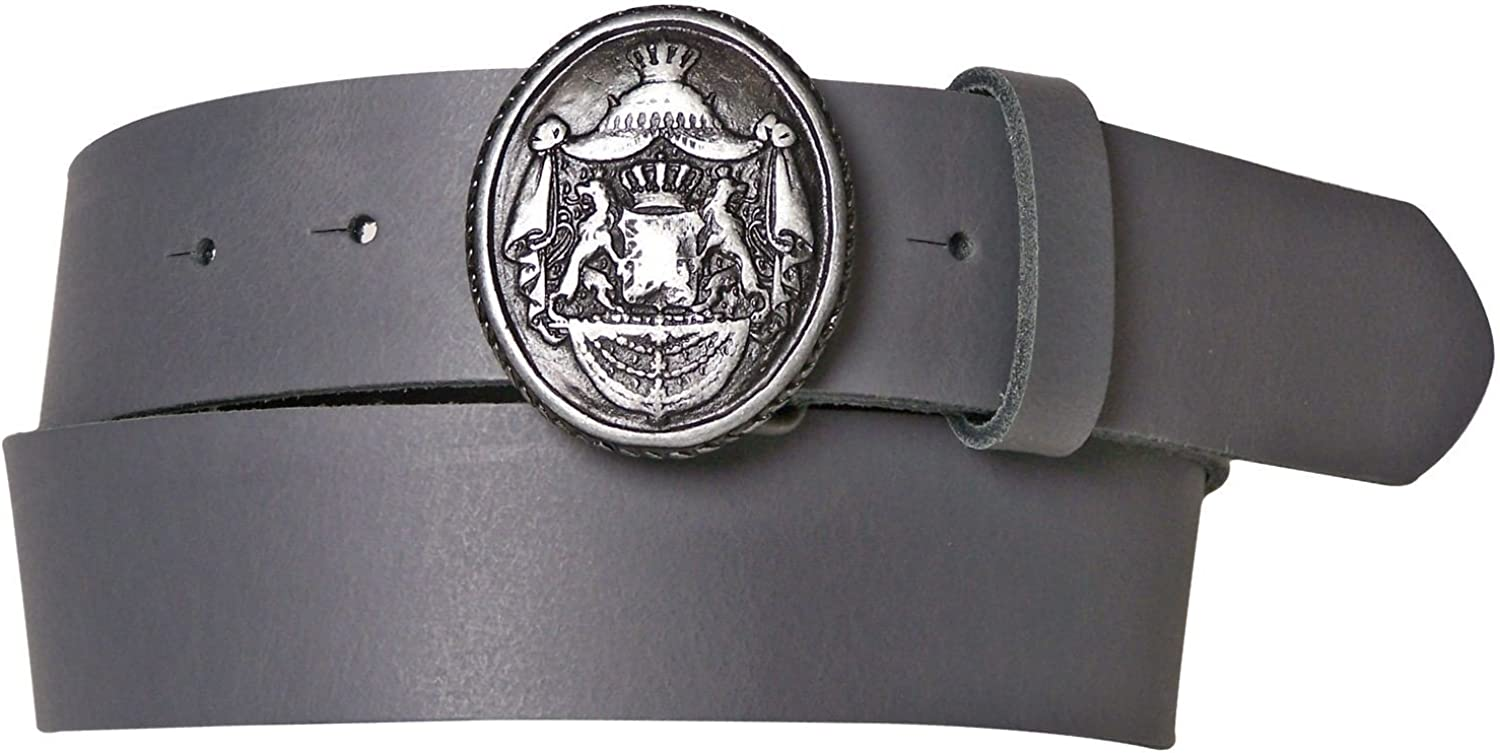 FRONHOFER Traditional leather belt, decorative broach buckle, red, brown, black, color Grey, Size waist size 29.5 IN S EU 75 cm