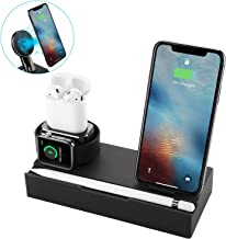 NEXGADGET 8 in 1 Charging Station Compatible Apple Watch AirPods,Detachable Wireless Charger Compatible for iPhone Xs Max/XS/XR/X/8/8 Plus All Qi-Enabled Devices-Black