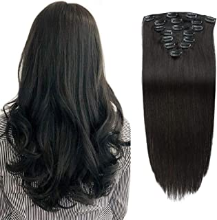 Real Remy Thick Clip in Human Hair Extensions Double Weft Yaki Straight Natural Black for African American Full Head Soft Brazilian Virgin Hair Clip ins for Black Women 14Inches 8Pieces 100g