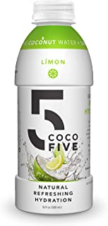 COCO5 Clean Sports Hydration Limon Flavor | 100% Natural | 50% Less Sugar | Nothing Artificial | Non-GMO | Gluten Free | Developed by Pro Trainers for Pro Athletes | 16.9 OZ (Pack - 12)