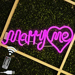 Obrecis LED Marry me Words Neon Letter Signs, Light Up Letters Lights Remote Control Marquee Letters Lamp for Proposal, Valentine's Day, Wedding Party, Wall Decor- Marry Me(Pink)