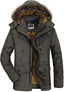 FUNFOA Men's Winter Warmth Thicken Casual Field Jacket with Removable Hood Coat Jacket Parka