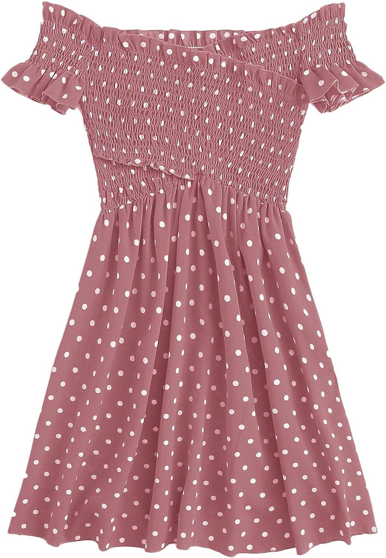 MakeMeChic Women's Casual Polka Dot Criss Cross Shirred Short Sleeve A Line Bardot Dress