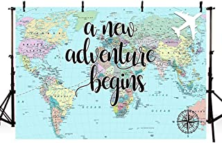 MEHOFOTO A New Adventure Begins Travel Boy Baby Shower Party Decorations Backdrop World Map Around World Adventure Awaits Airplane Photography Background Photo Banner 7x5ft