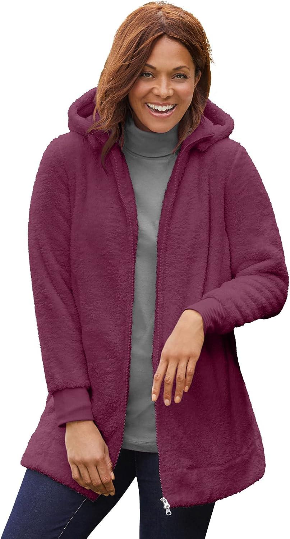 Woman Within Women's Plus Size Fleece Hooded Jacket