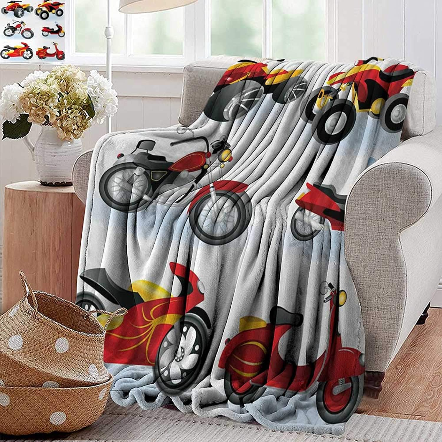 Weighted Blanket for Kids,Motorcycle,Motorcycle Icons Sportsman Competition Amusement Leisure Cartoon Illustration,Black Yellow,Weighted Blanket for Adults Kids, Better Deeper Sleep 50 x70