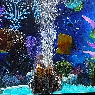 CZYCZY Juego de Adornos para Acuario con Forma de volc/án de Burbujas de Piedra de Aire con Foco LED Rojo para Decorar acuarios y peceras