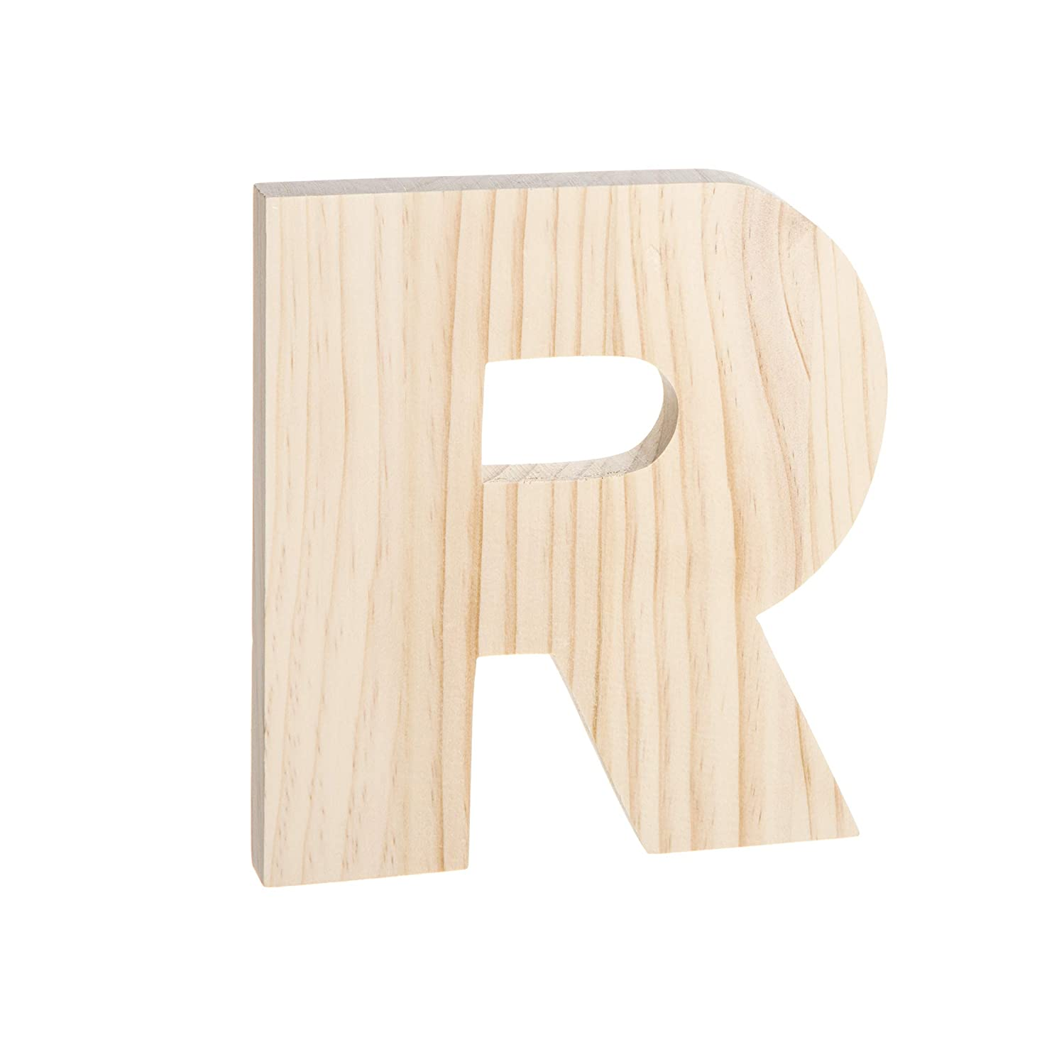 Darice 30066918 Unfinished Wood Letter: R, 8 x 8 inches, Natural