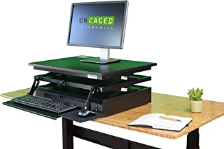 Electric CHANGEdesk Tall Standing Desk Converter + Ergonomic Keyboard Tray. Motorized adjustable height sit to stand up desktop computer riser for heavy monitors powered lift black