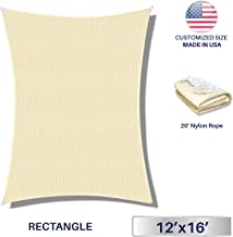 Windscreen4less Sun Shade Sail for Outdoor Patio Backyard UV Block Awning with Steel D-rings 12ft x 16ft Beige Sand Rectangle - Custom Size Available