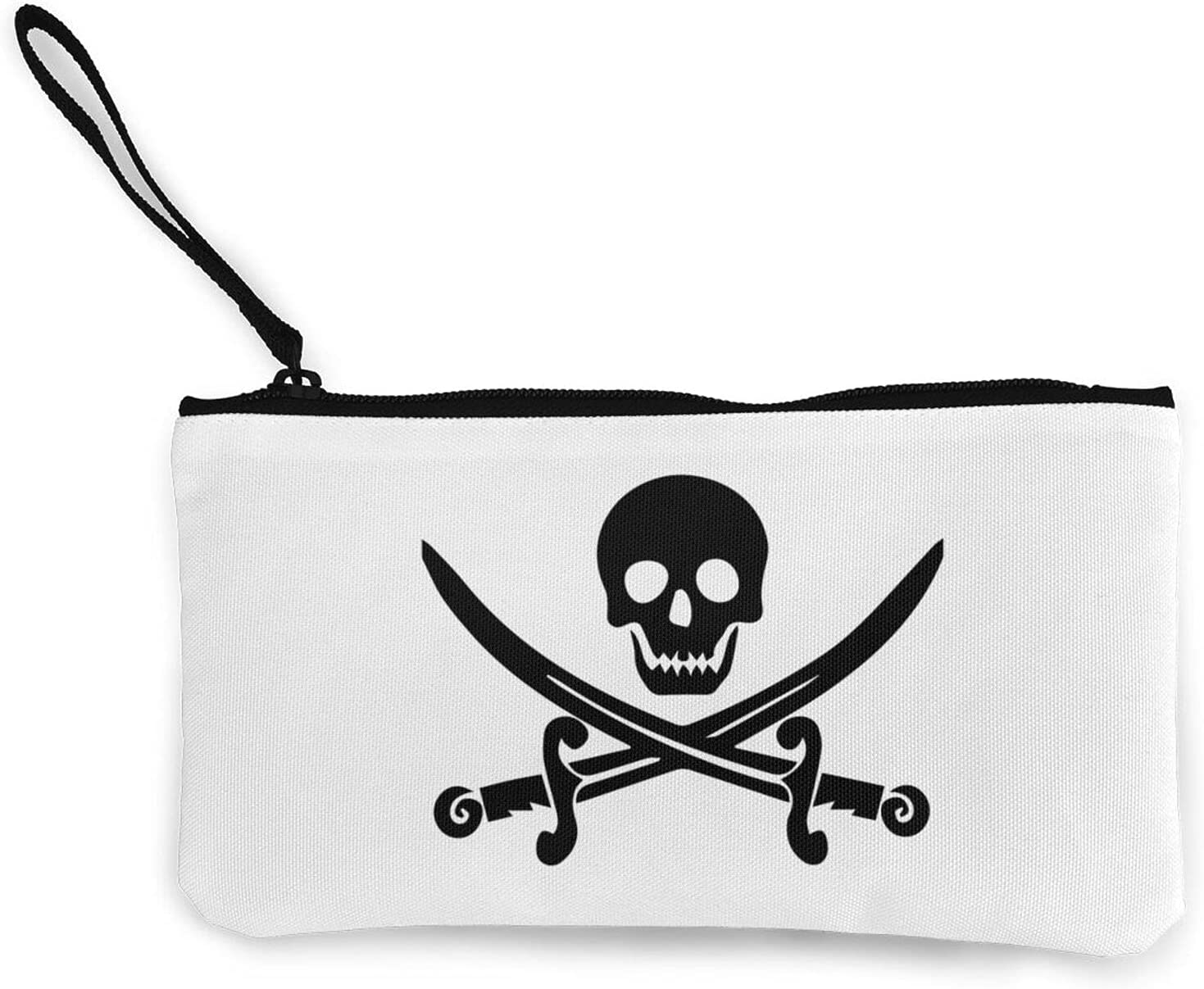 Jolly Roger. John Rackham Calico Jack Multifunction Travel Toiletry Pouch Small Canvas Coin Wallet Bag Zipper