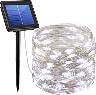 AMIR Solar String Lights,72ft 8 Modes Copper Wire Lights, 200 LED Starry Lights, Waterproof IP65 Fairy Christams Decorative Lights for Outdoor, Wedding, Homes, Party, Halloween (White)