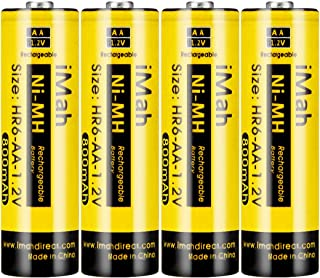 iMah HR6 AA Rechargeable Batteries for Solar Lights 800mAh 1.2V Ni-MH Battery for Outdoor Pathway Garden Lamps, Pack of 4