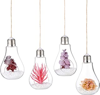 Glasseam Clear Glass Hanging Planter, Creative Glass Bulb Terrarium Container, for Tiny Air Plant Succulent DIY Decor Home...