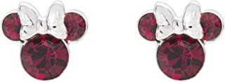 Disney Minnie Mouse Birthstone Jewelry, Silver Plated Crystal Stud Earrings for Women and Girls (More Colors Available)