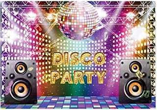 Funnytree 7x5ft Vintage 70s 80s 90s Disco Party Backdrop for Photography Let's Glow Crazy Adults Birthday Background Shining Neon Night Speaker Cake Table Decorations Banner Photobooth Props