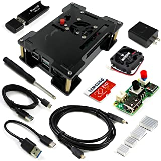 Freenove Starter Kit for Raspberry Pi 4 B, Protective Case, Adjustable Speed Cooling Fan, 32 GB SD Card, 3A Power Supply w...