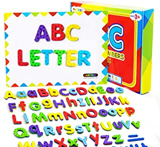 MAGTiMES Magnetic Letters and Numbers for Educating Kids in Fun -Educational Alphabet Refrigerator Magnets -112 Pieces (Letters and Numbers with Board)