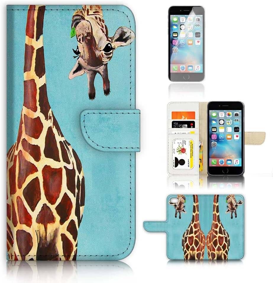 ( For iPhone 7 Plus ) Flip Wallet Case Cover and Screen Protector Bundle A4131 Giraffe