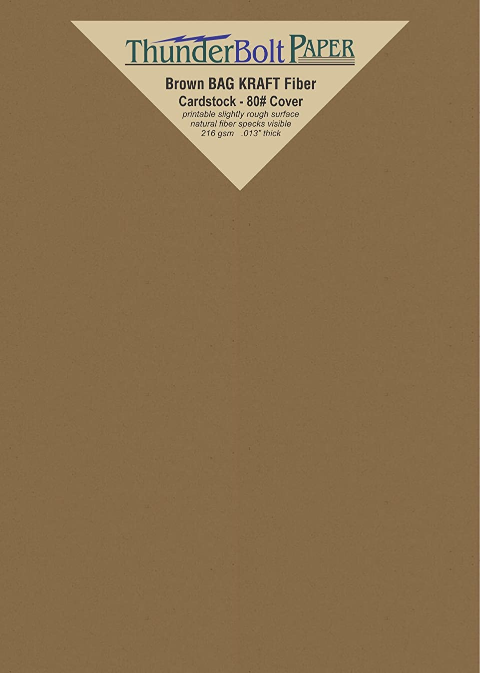 50 Brown Bag Colored Cardstock Paper Sheets - 5.5 X 8.5 inches Half Letter | Statement Size – 80 lb/Pound Cover|Card Weight 216 GSM - Natural Kraft Fiber with Darker Specks - Slightly Rough Finish