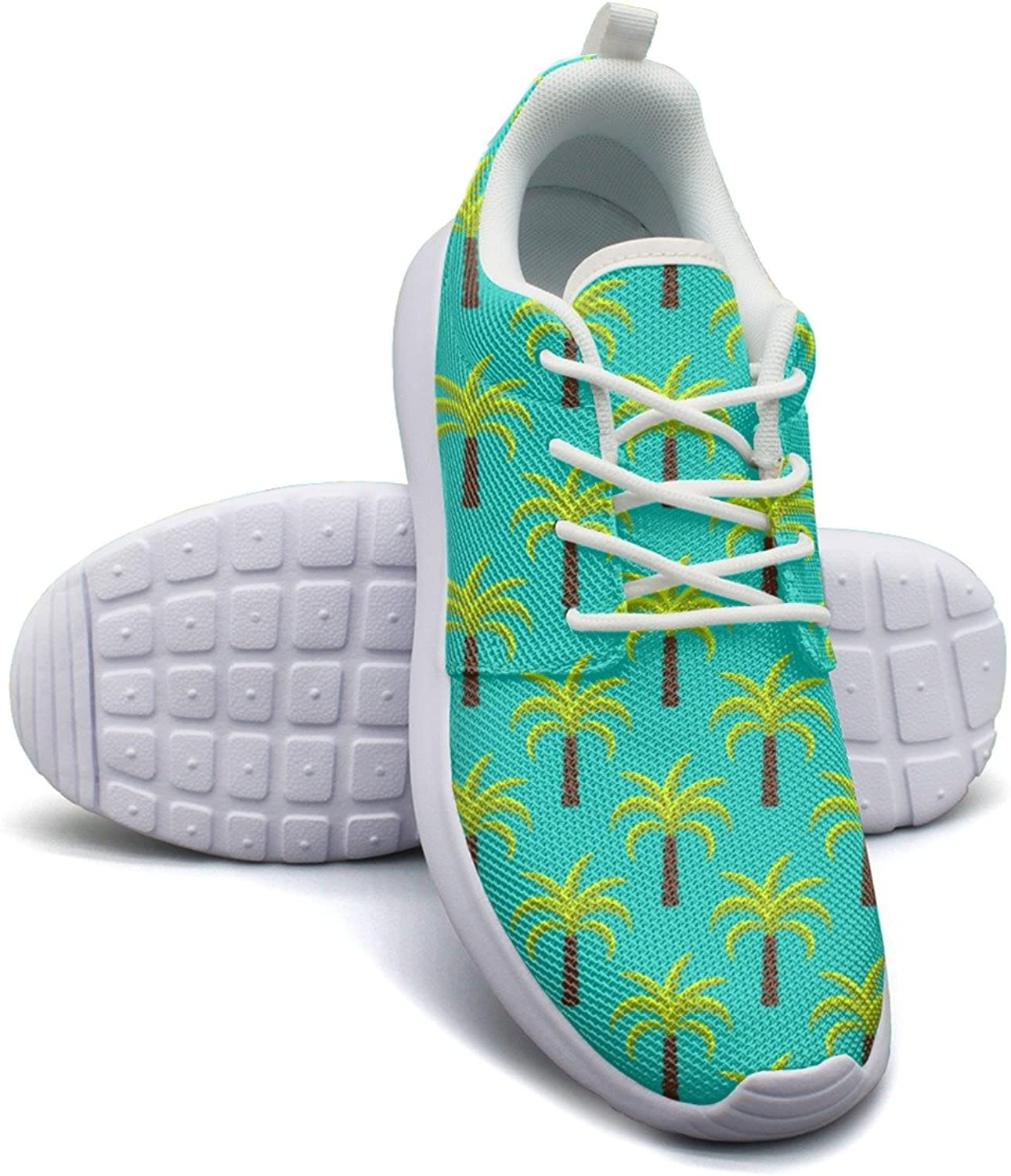 Green Tropic Palm Trees Women's Fashion Tennis shoes Retro Mesh Lightweight Running Sneakers