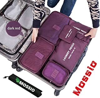 Mossio 7 Set Packing Cubes with Shoe Bag - Compression Travel Luggage Organizer