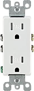Leviton T5325-SW 15 Amp NEMA 5-15R 2 Pole 3-Wire Tamper Resistant Decora Duplex Receptacle, Self Grounding, White