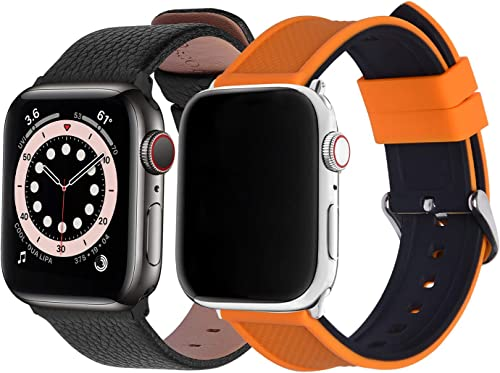 discount Fullmosa Compatible Apple wholesale Watch Band 40mm 38mm Leather&Silicone Compatible iWatch Band/Strap Compatible Apple Watch SE & Series 6 new arrival 5 4 3 2 1 sale