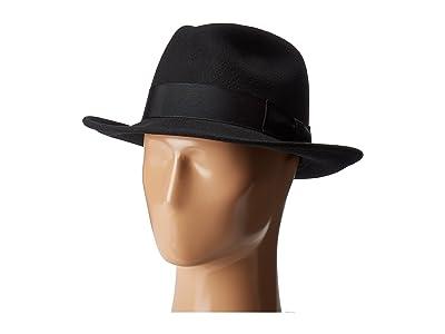 Country Gentleman Frederick Wide Brim Fedora Hat (Black) Caps